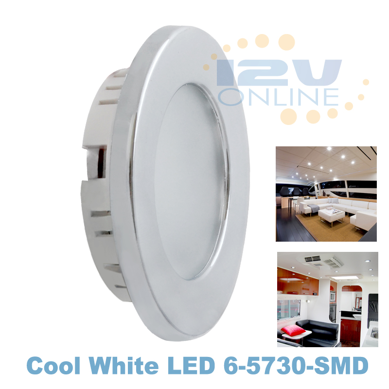 12v led shiny recessed down light rv caravan coach auto boat interior lighting cool white. Black Bedroom Furniture Sets. Home Design Ideas