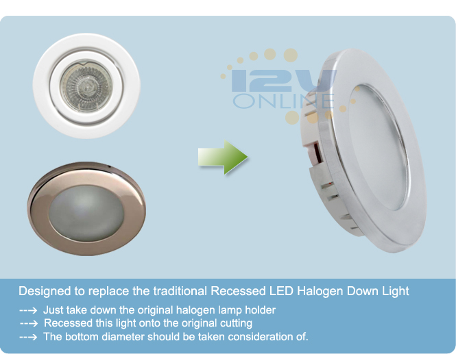 12v 2 76 led recessed ceiling light rv caravan coach trailer yacht