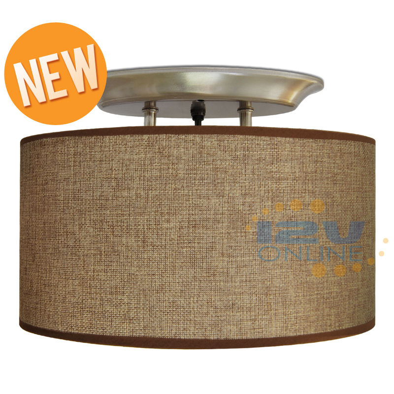 LED 12V Brown Fabric Shade Dinette Ceiling Light RV Boat