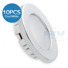 "10*12V 2.76"" LED Silver Recessed Down Light Cool W RV Motorhome Trailer Boat Cabin Kitchen Cabinet Indoor Light"