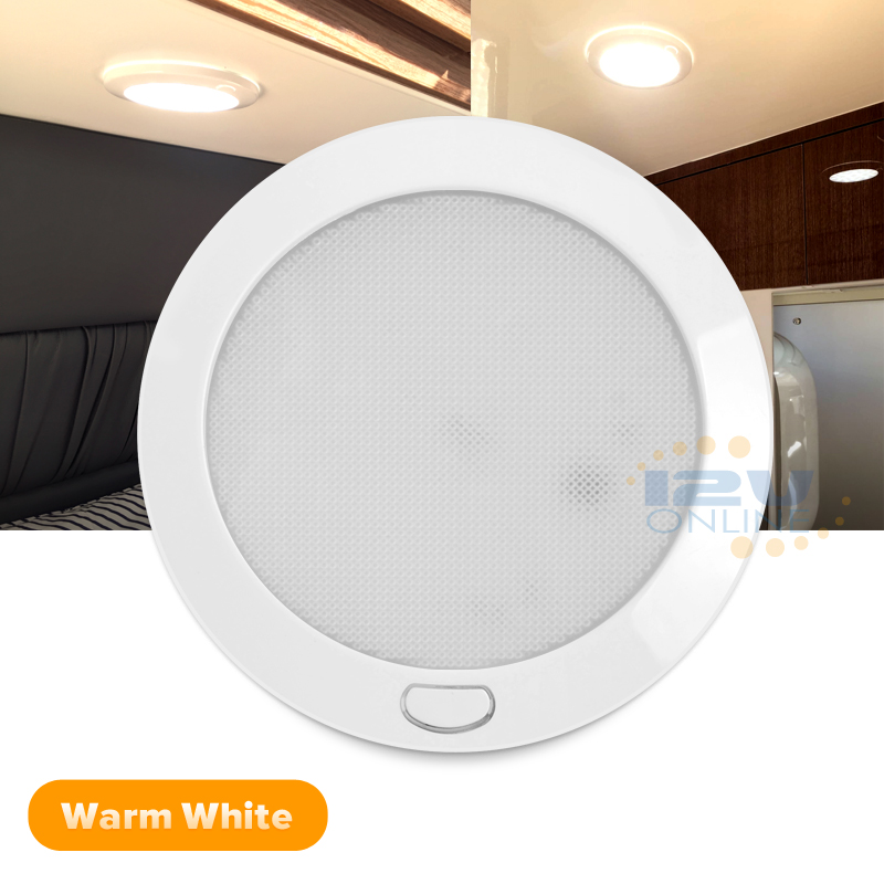 12V LED Opal Switched Dome Ceiling Light RV Coach Boat Interior Downli...
