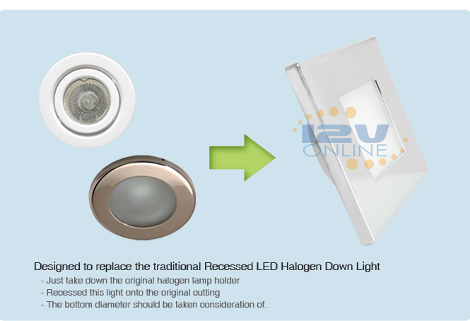 4X 12V LED Square Recessed Ceiling Light RV Camper Trailer ...