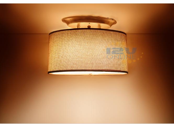 LED 12V Brown Fabric Shade Dinette Ceiling Light RV Boat ...
