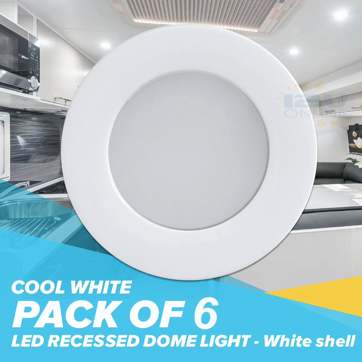6PCS 12V 70MM White LED Recessed Ceiling Dome Light RV